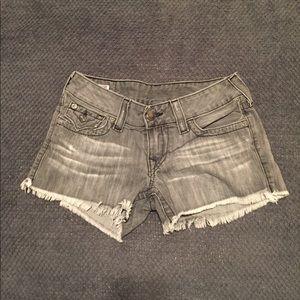 True Religion cut off gray shorts
